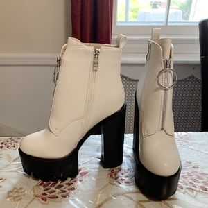White and Black Chunky Heeled Ankle Boots/Booties